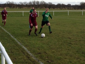 Chris Latham scored his first goal for Greenalls with a cross-come-shot