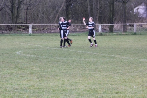 Nathan Conlan (right) opened the scoring at Bennetts Rec.